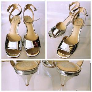 Silver Metallic Vince Camuto Kitten Heels - 8 1/2